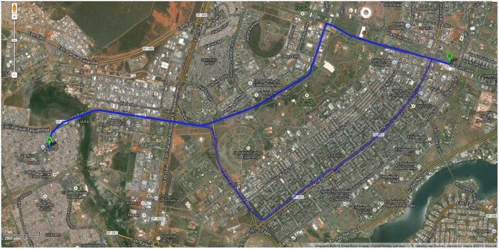Percurso Desafio Intermodal 2013 Brasília DF